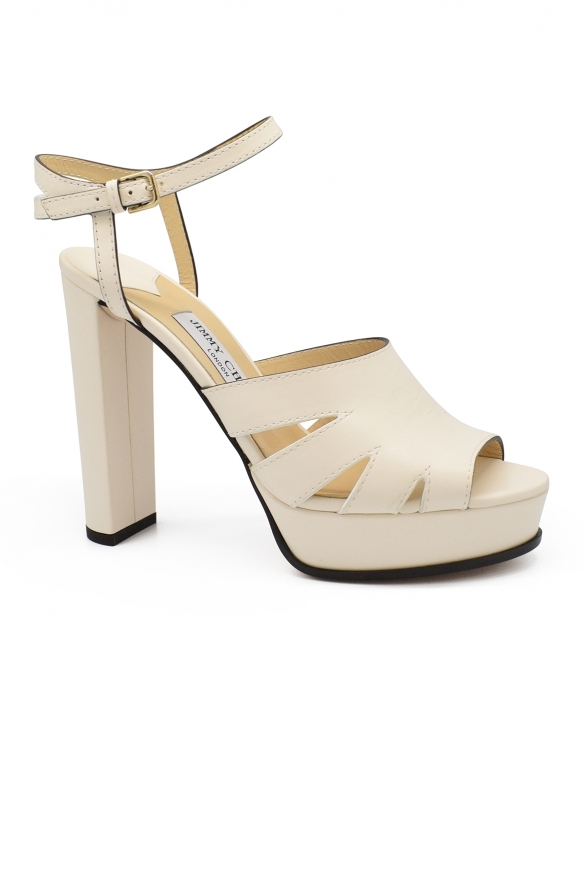 Luxury shoes for women - Jimmy Choo Hermione 120 white leather sandals