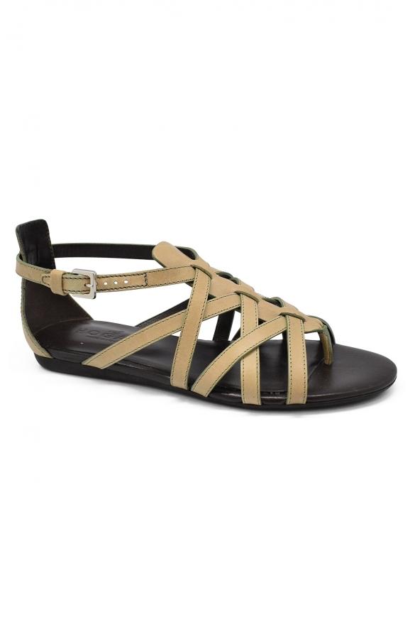 Women luxury shoes - Hogan Valencia sandals in beige leather.