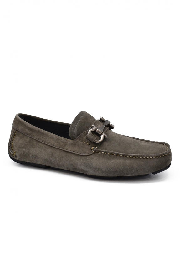Luxury shoes for men - Salvatore Ferragamo Driver Gancini loafers in grey suede