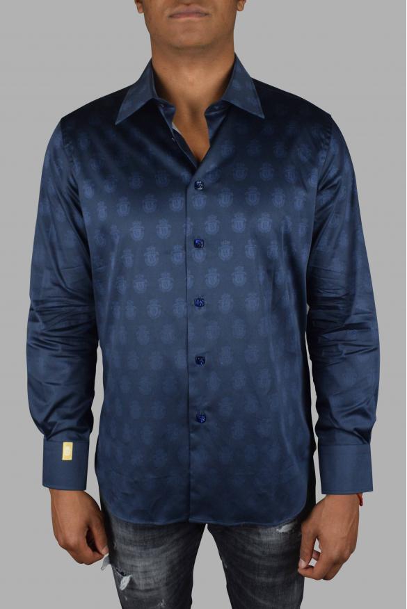 Luxury shirt for men - Billionaire dark blue shirt with insignia pattern