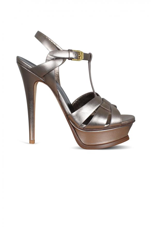 Luxury shoes for women - Tribute Saint Laurent sandals in copper metallic