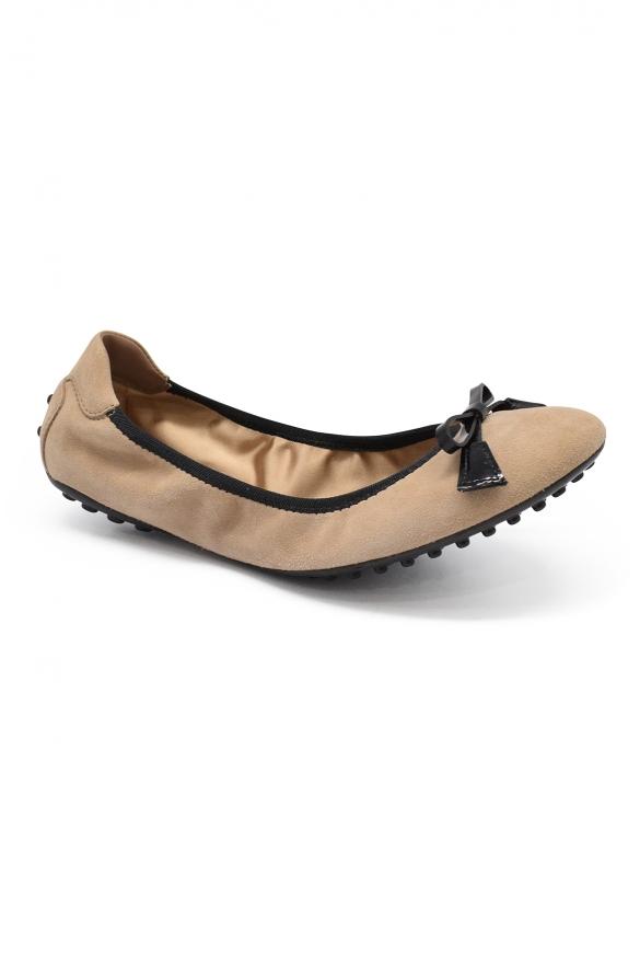 Luxury shoes for women - Tod's ballet flat in beige suede