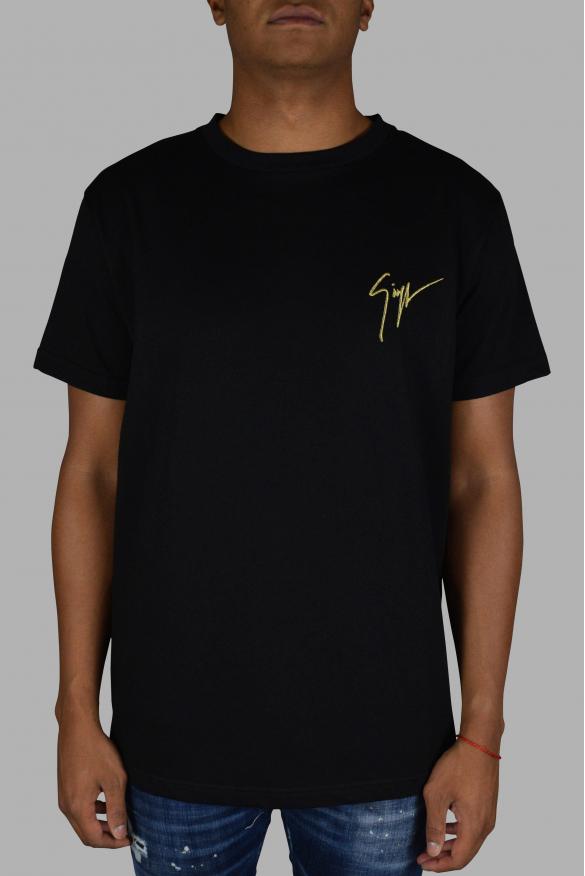 Men's luxury t-shirt - Giuseppe Zanotti black t-shirt with gold logo