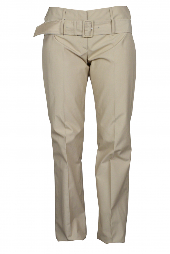 Luxury trousers for women - Prada beige trousers with belt at the waist