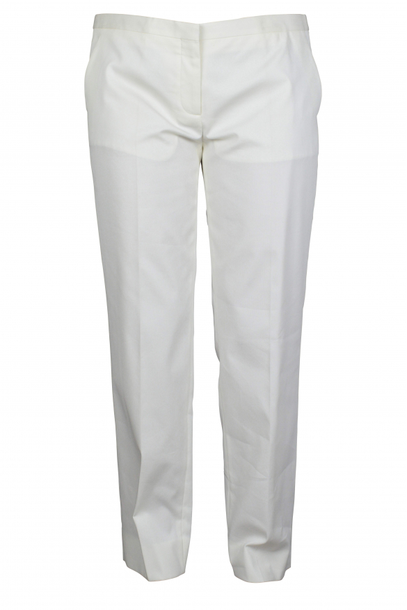 Luxury trousers for women - Prada white trousers with side pockets