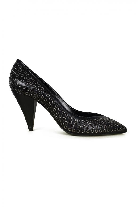 Women's luxury pumps - Saint Laurent model Era pumps in black leather with metallic details