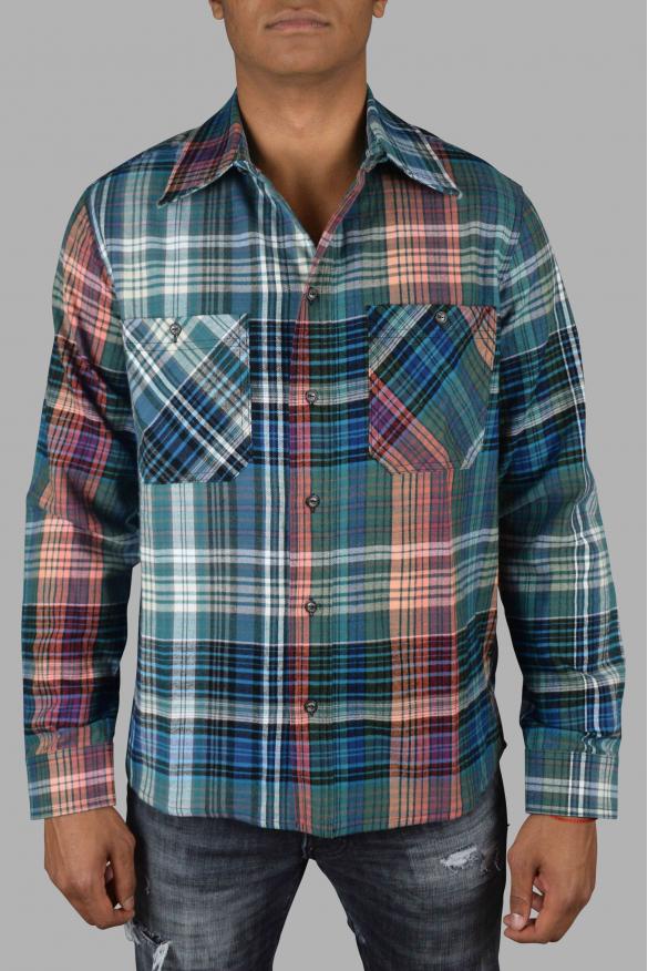 Men's luxury shirt - Off-White blue, green and orange shirt