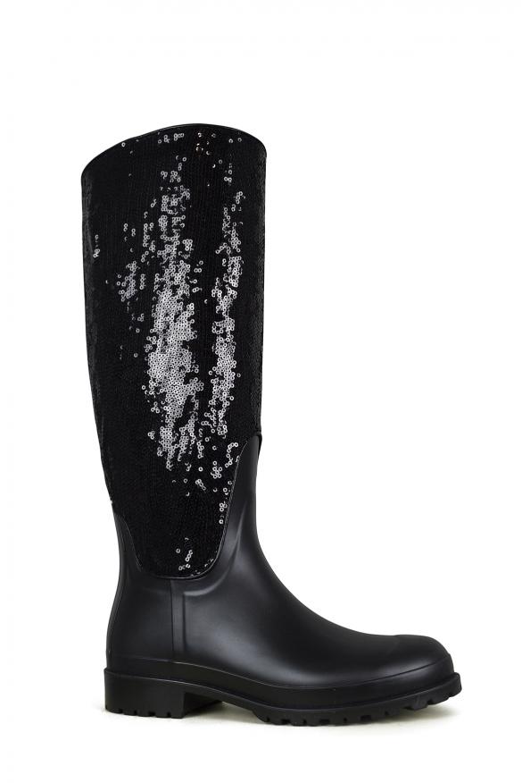 Luxury shoes for women - Saint Laurent Festival 25 black rubber boots