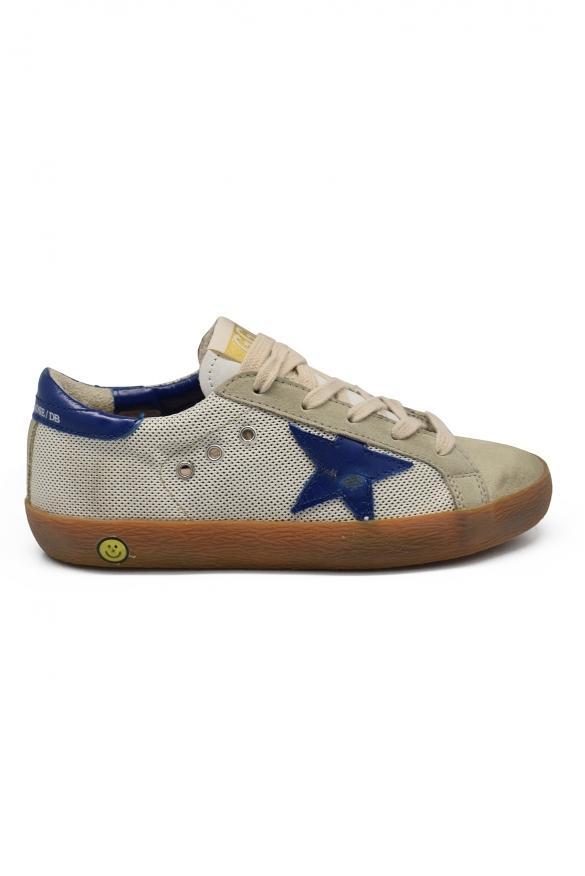 Golden Goose kids - Golden Goose Superstar beige and blue sneakers