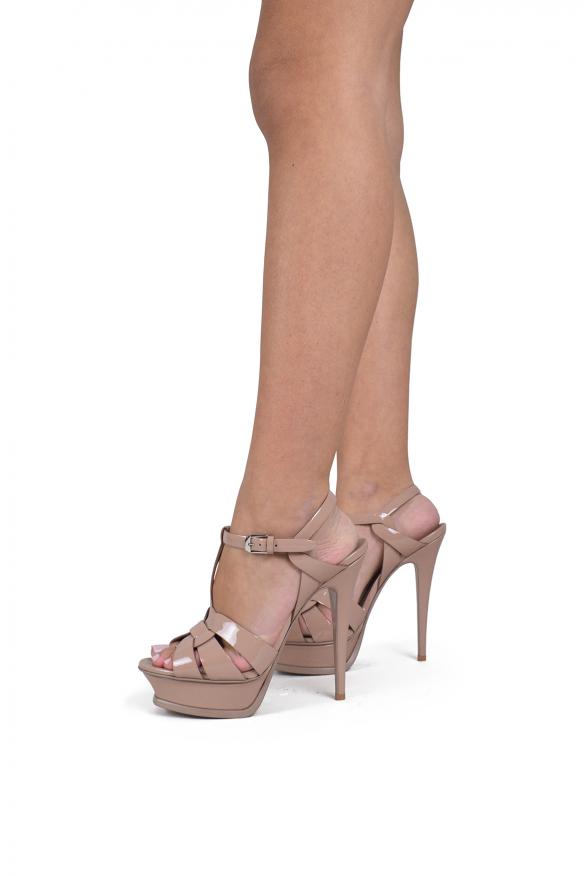 Luxury shoes for women - Saint Laurent Tribute sandals powder pink high heel