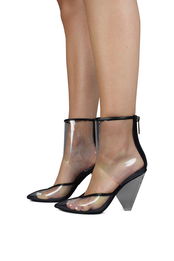 Women's luxury boots - Balmain transparent black leather and PVC ankle boots