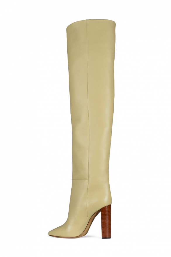 Women's luxury boots - Saint Laurent model 76 boots in beige leather