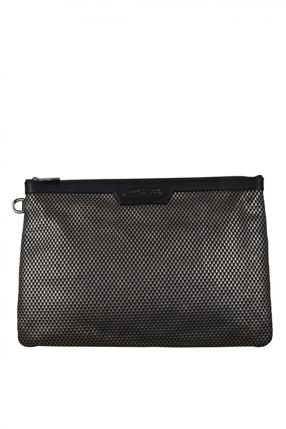Luxury bags for men - Derek Jimmy Choo brown pattern clutch bag