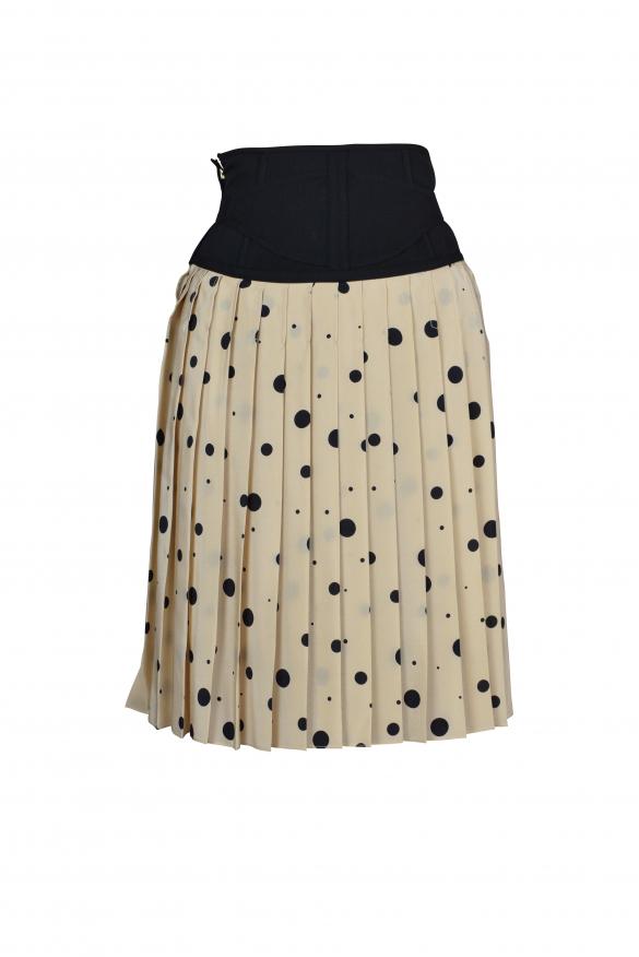 Luxury skirt for women - Dolce & Gabbana beige pleated skirt with black dots