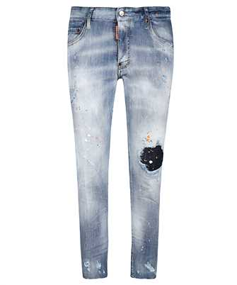 splatter-print distressed-finish skinny jeans