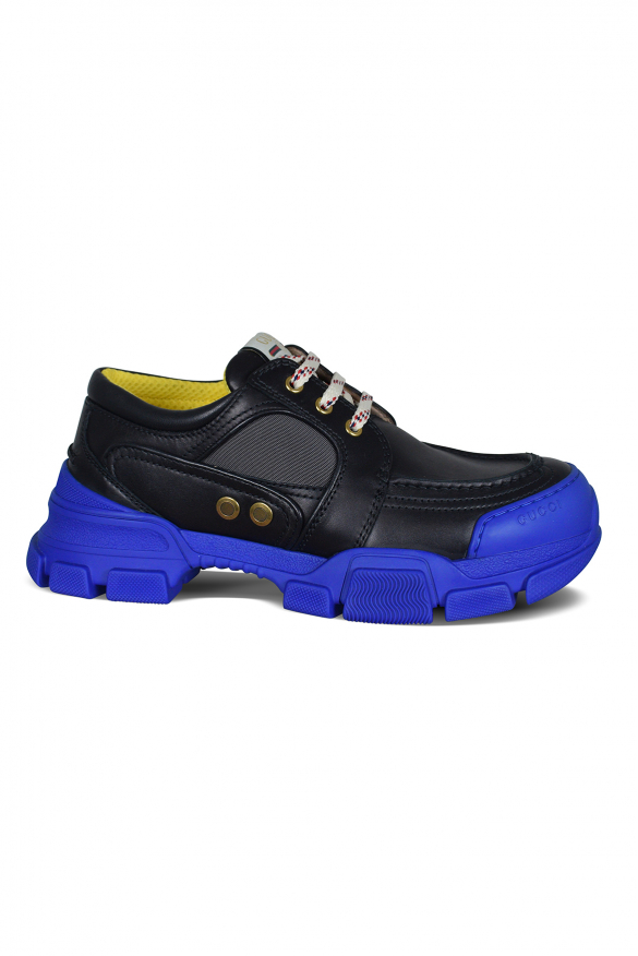 Men's luxury derby - Gucci derby in black leather and blue sole