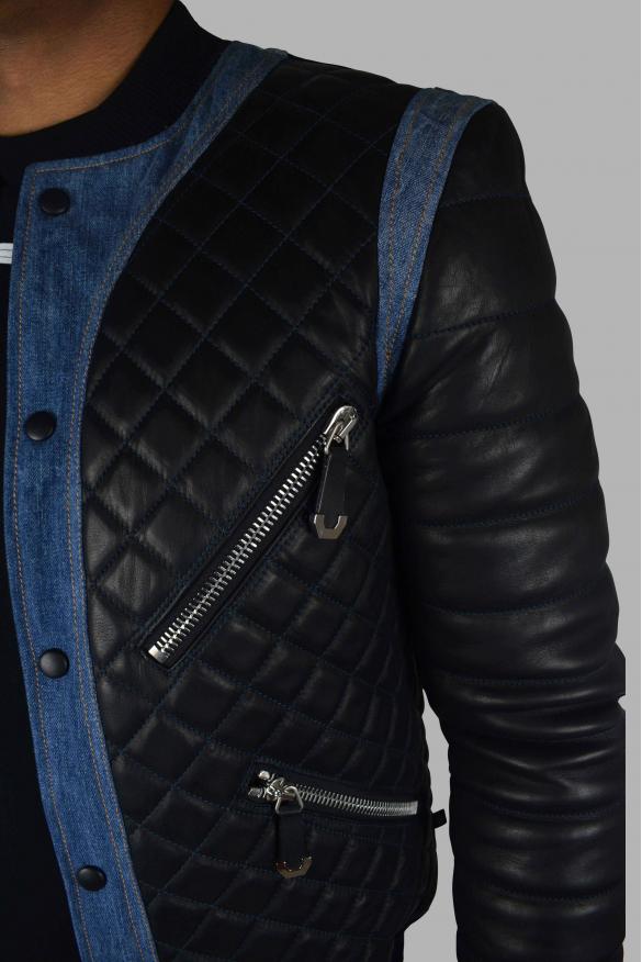 Women's designer jacket - Philipp Plein Bomber jacket in black leather and blue jean