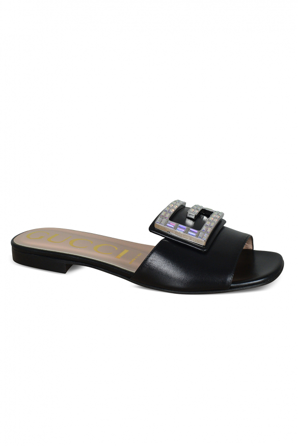 Women's luxury sandals - Gucci black leather sandals with logo