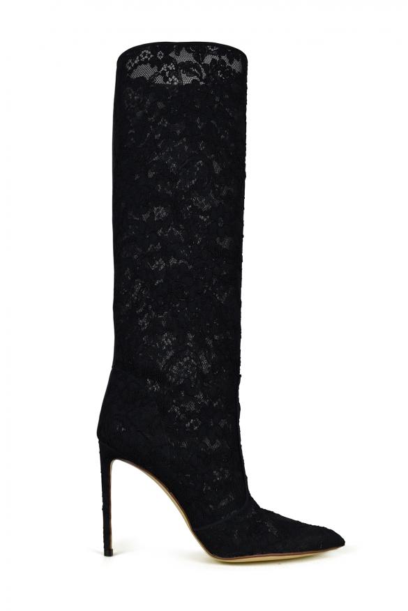 Luxury shoes for women - Francesco Russo black lace boots