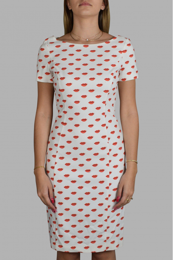 Luxury dress for women - Prada white dress with red mouth patterns