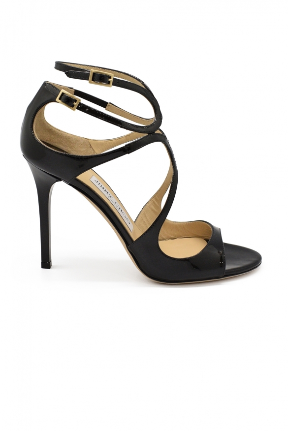 Luxury shoes for women - Jimmy Choo Lang sandals in black patent