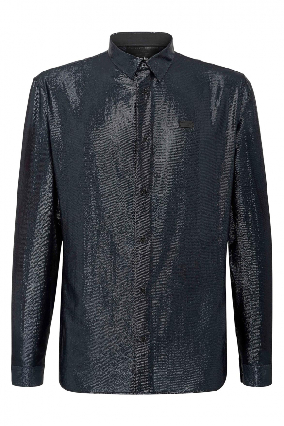 Luxury shirt for men - LS Skull Philipp Plein shiny black shirt