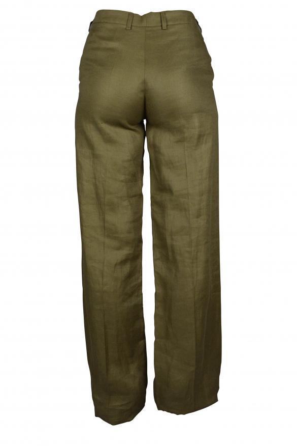 Luxury trousers for women - Balenciaga khaki linen trousers
