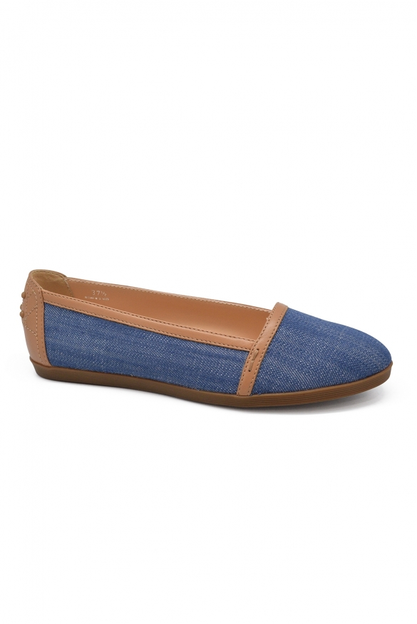 Luxury shoes for women - Tod's ballet flats in denim and leather