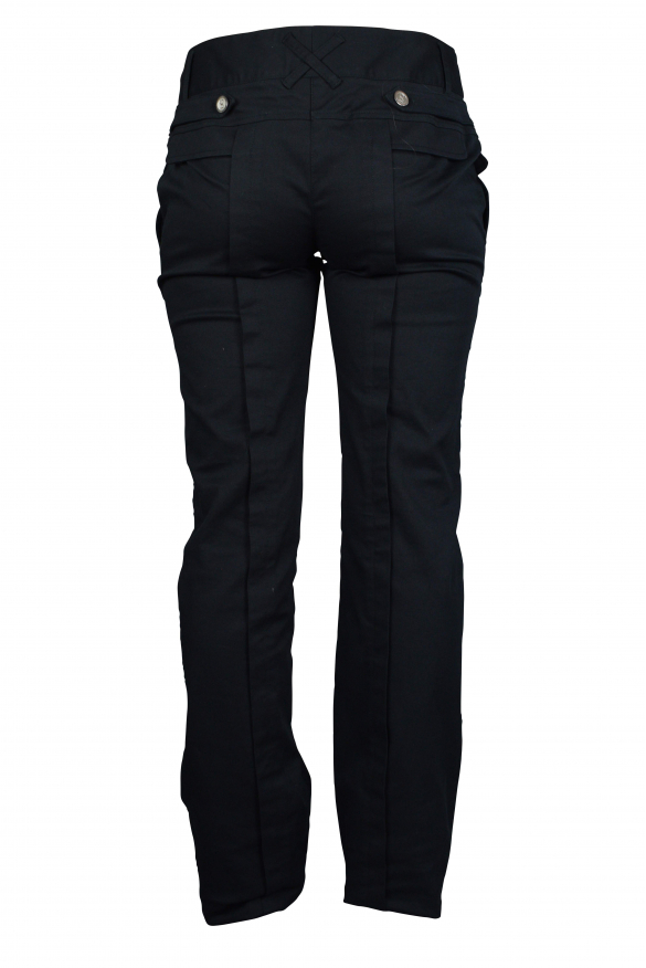 Luxury trousers for women - Dolce & Gabbana black trousers with silver buttons