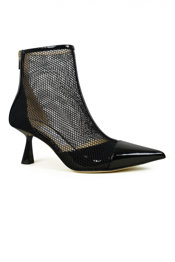 Luxury shoes for women - Jimmy Choo Kix 65 black fishnet ankle boot