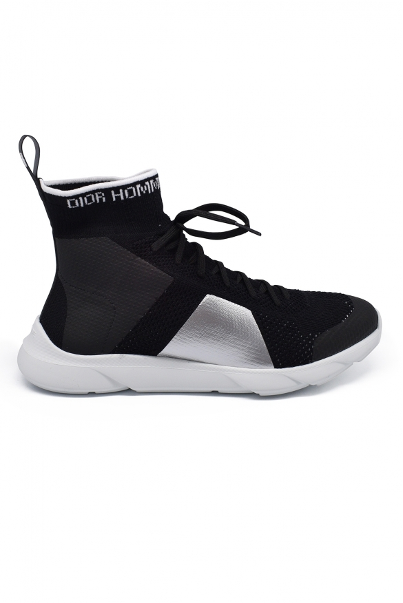 Luxury sneakers for men -  B21 Socks Dior sneakers in technical knit black and red