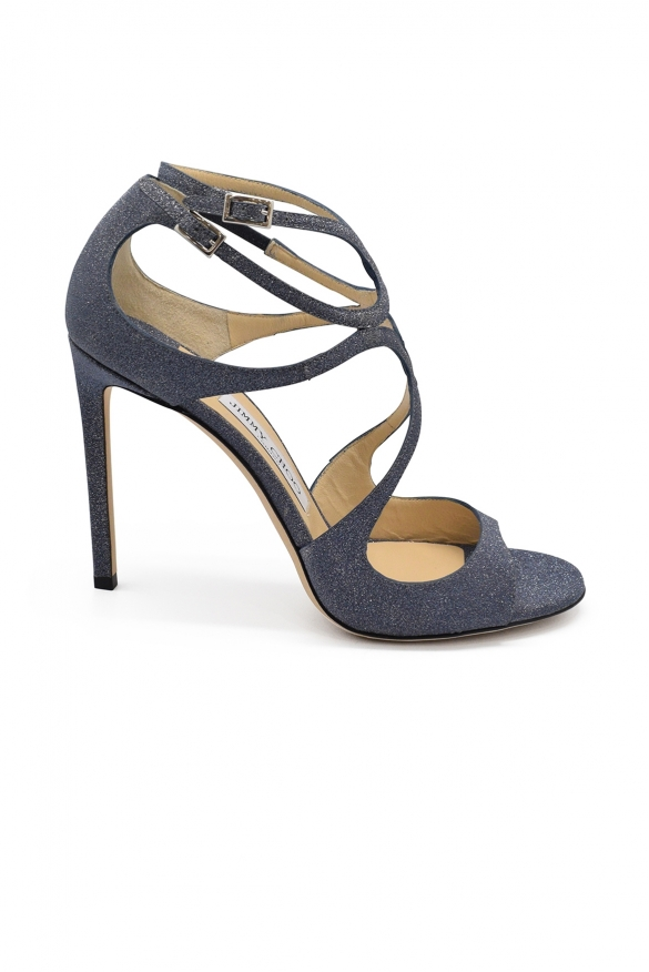Women luxury shoes - Jimmy Choo Lang sandals with blue glitters