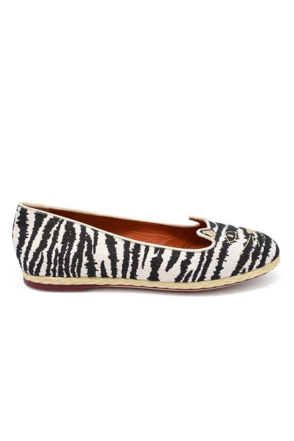 Luxury shoes for women - Charlotte Olympia Ferral ballet flats in canvas with zebra effect.