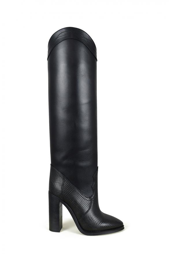 Women's luxury boots - Saint Laurent model Kate boots in black lizard-embossed leather