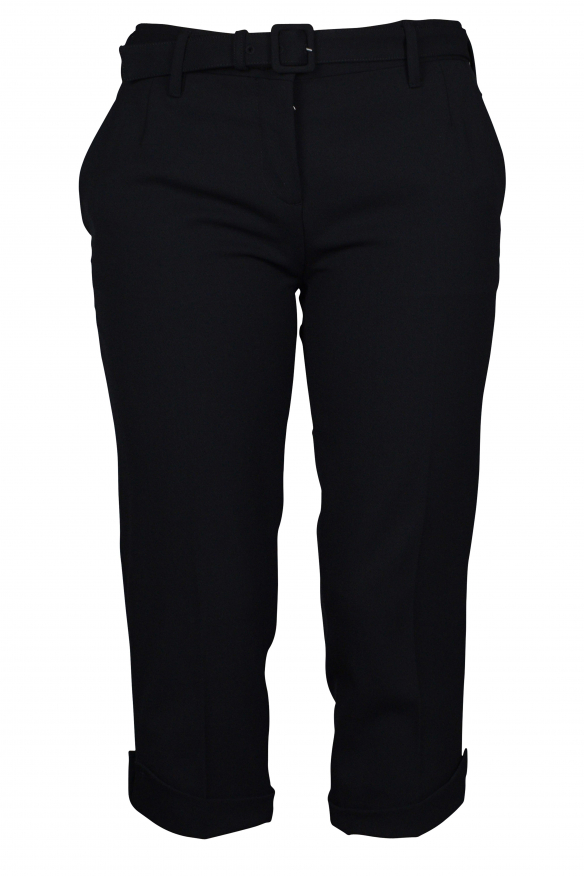 Luxury cropped trousers for women - Prada black cropped trousers with belt
