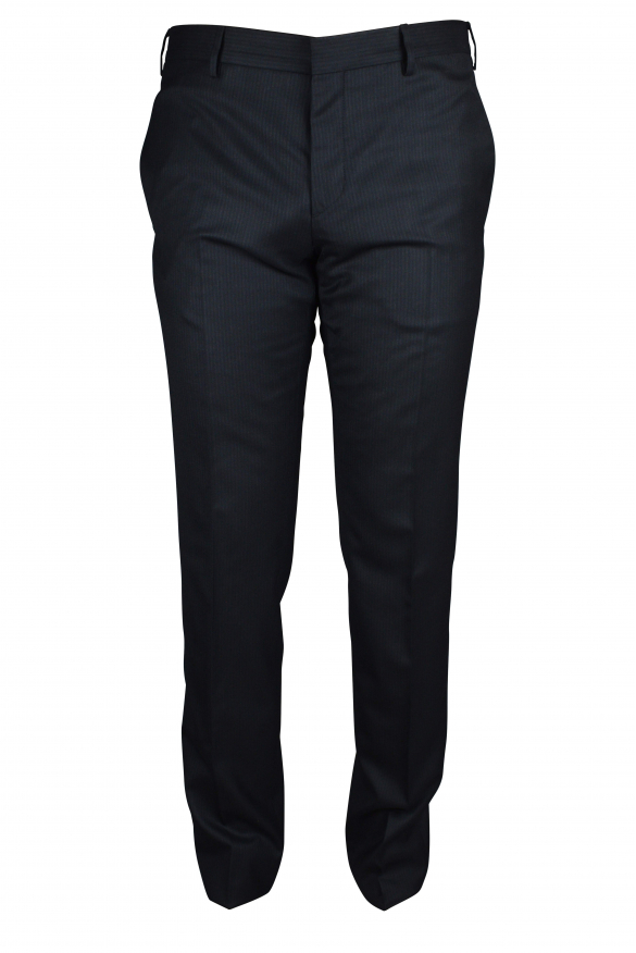 Luxury trousers for men - Prada black trousers with tone-on-tone stripes