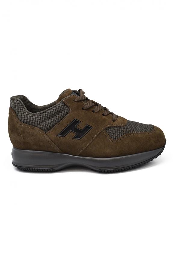 Men luxury sneakers - Hogan Interactive N20 grey and brown sneakers