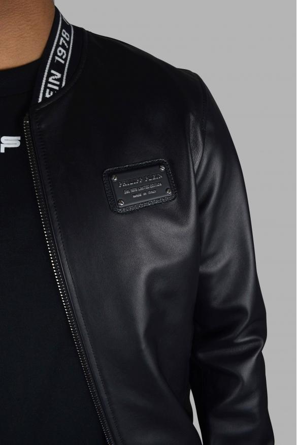 Men's designer jacket - Philipp Plein Bomber jacket in black leather yellow details
