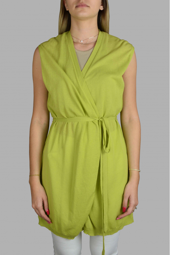 Luxury waistcoat for women - Long sleeveless waistcoat Antonio Marras green