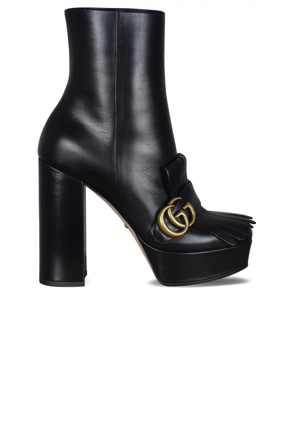 Women's luxury ankle boots - Gucci ankle boots black with fringes and GG logo