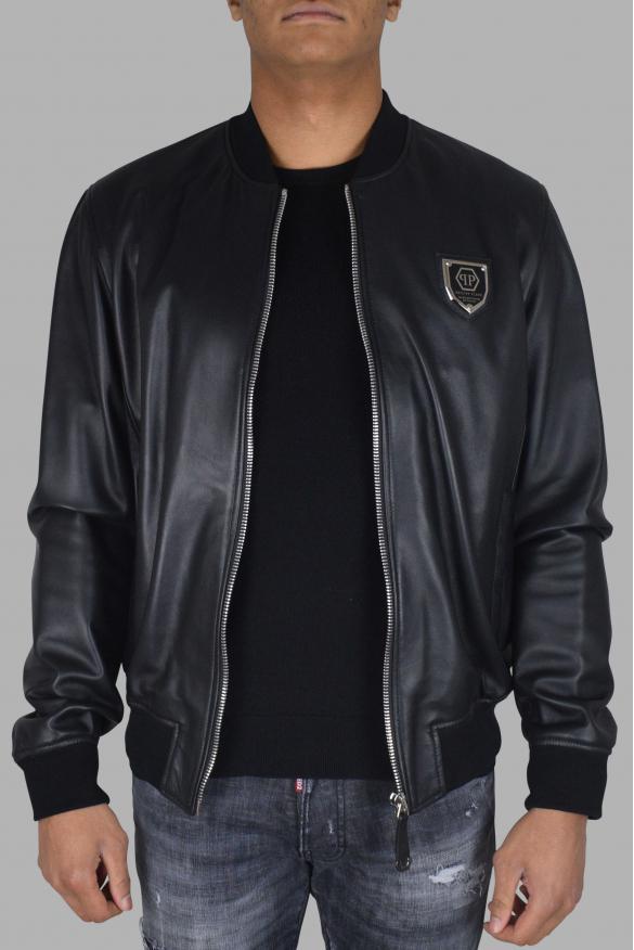 Men's luxury jacket - Philipp Plein Bomber jacket in black leather classic