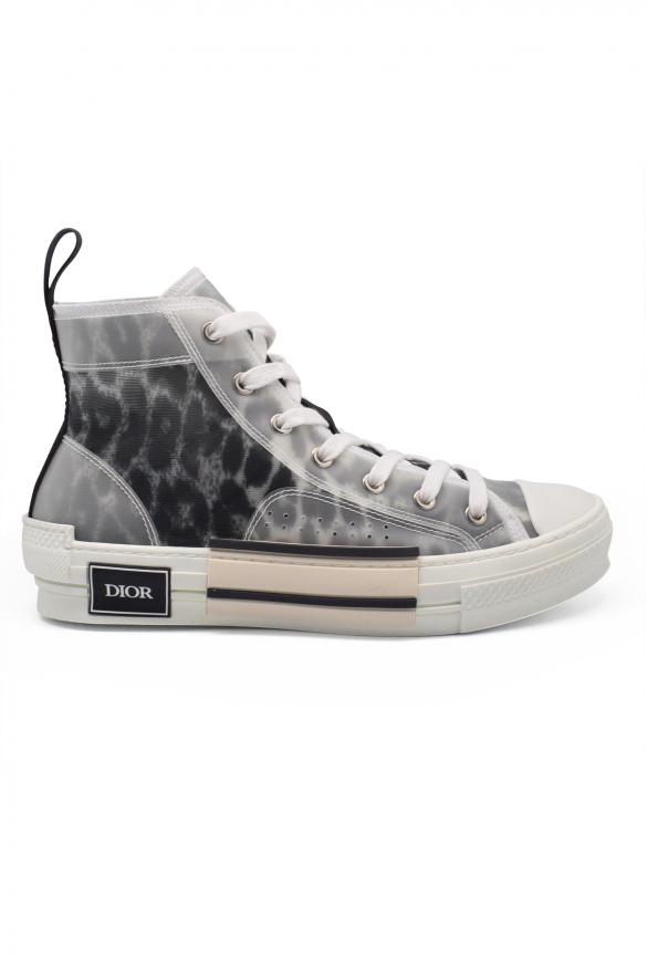 Men's luxury sneakers -  Sneakers Dior model B23 high gray leopard