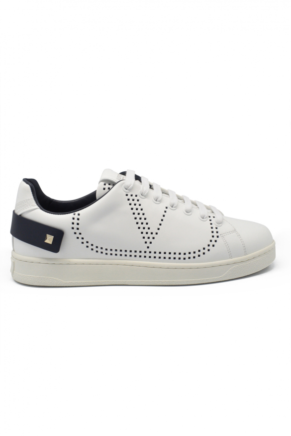 Men's luxury sneakers - Valentino Backnet sneakers in white leather with blue tongue details