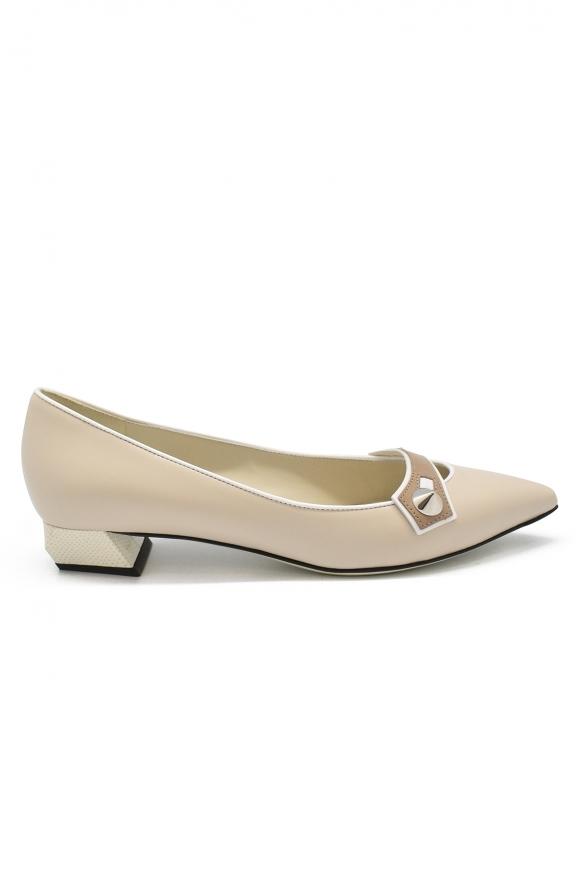 Luxury shoes for women - Fendi Borchie ballet flats in beige leather