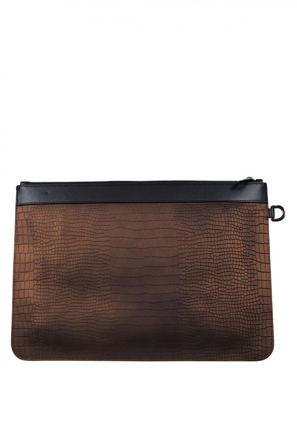 Luxury bags for men - Jimmy Choo Derek in brown stamped leather