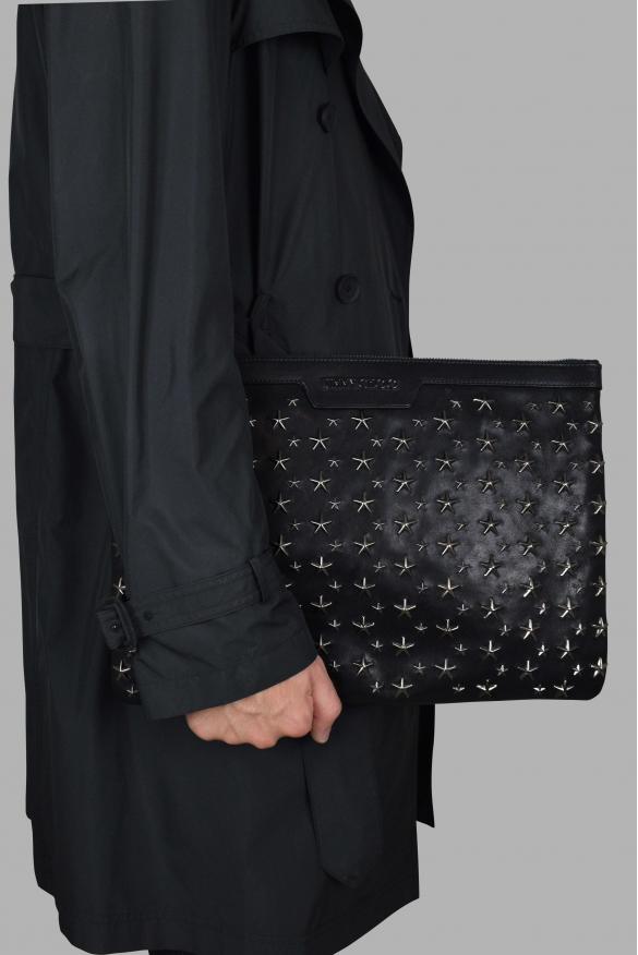 Luxury bags for men - Jimmy Choo Derek in black leather with stars