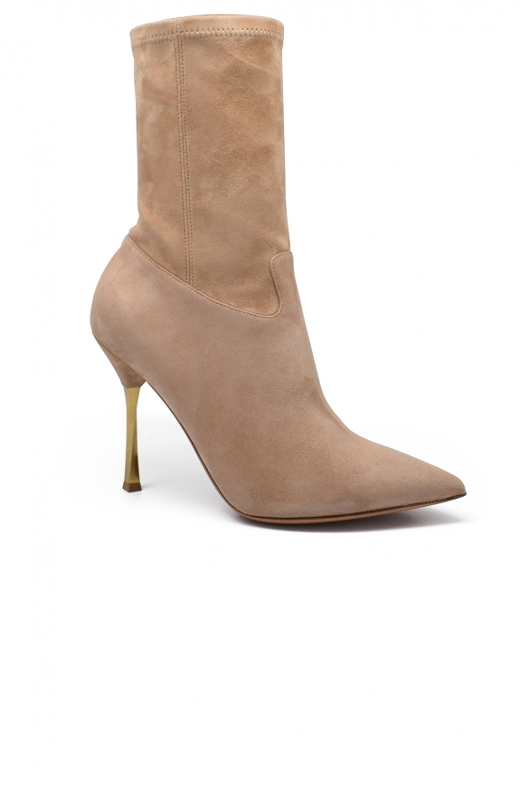 Luxury shoes in women - Valentino twisted heel boots in beige suede