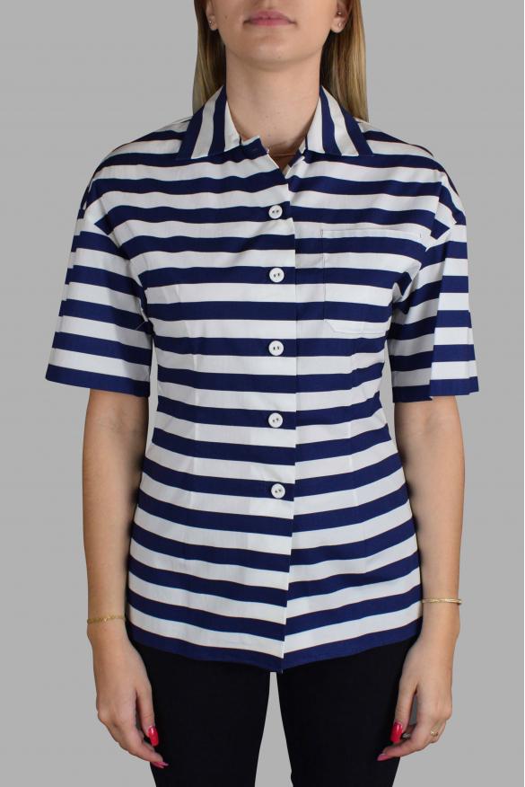 Luxury shirt for women - Prada striped short sleeve shirt